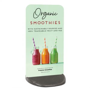 organic smoothies pavement sign